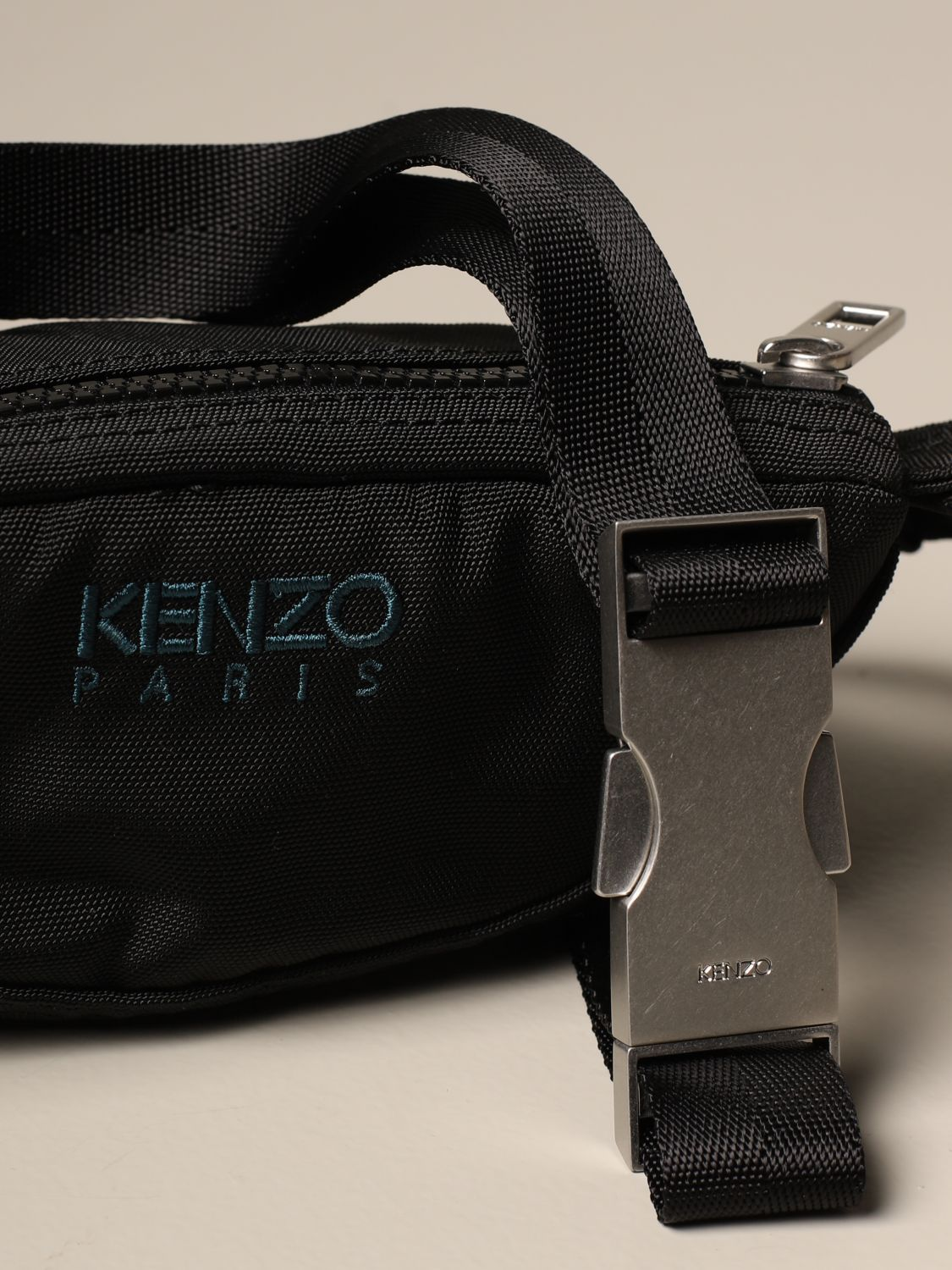 Belt bag Kenzo: Kenzo belt bag in canvas with Tiger Kenzo Paris logo black 3