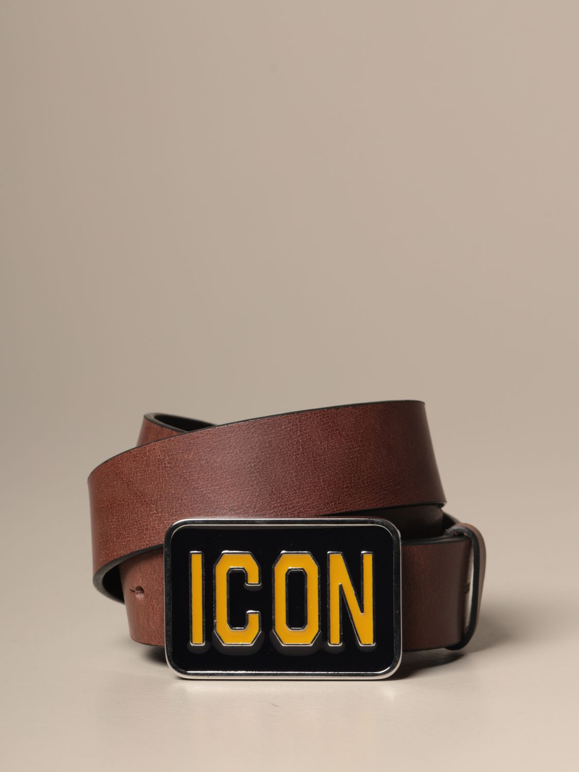 Belt Dsquared2: Dsquared2 leather belt with Icon buckle brown 1