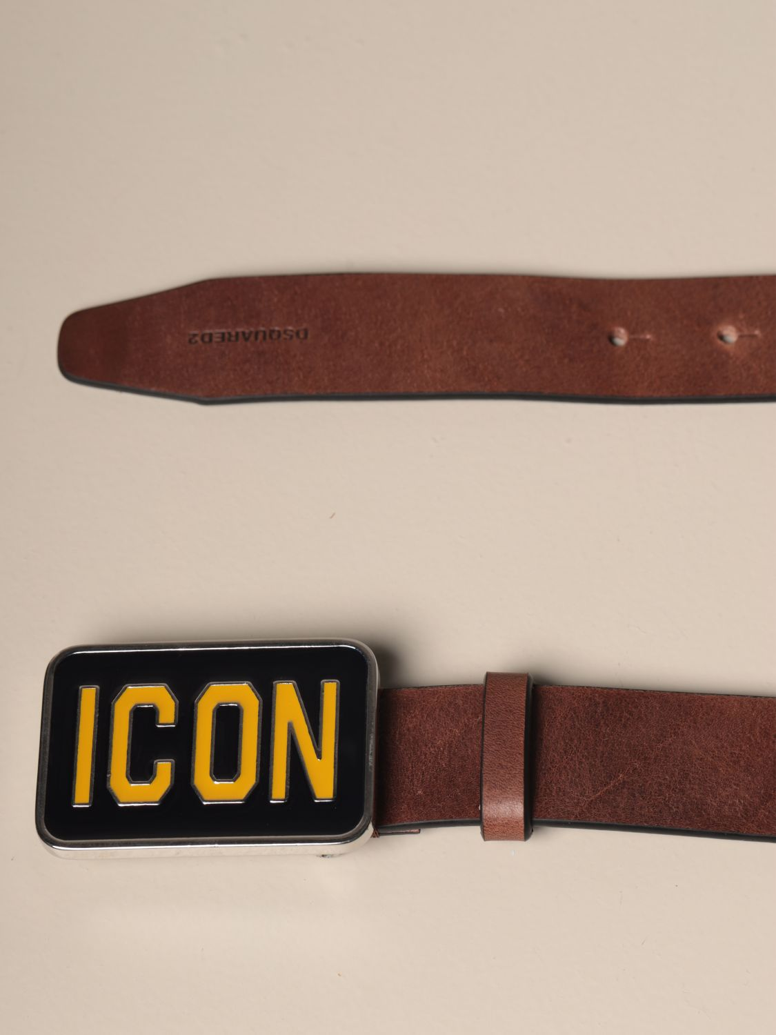 Belt Dsquared2: Dsquared2 leather belt with Icon buckle brown 2