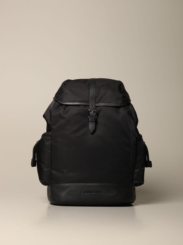 Zaino Burberry: Zaino Burberry in eco-nylon sostenibile con finiture in pelle nero 1