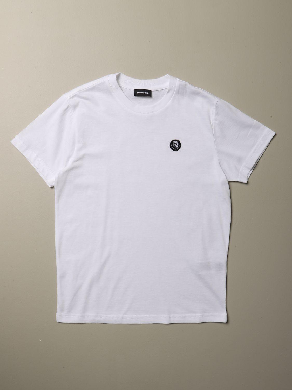 T-shirt Diesel: T-shirt Diesel a girocollo in cotone con logo bianco 1