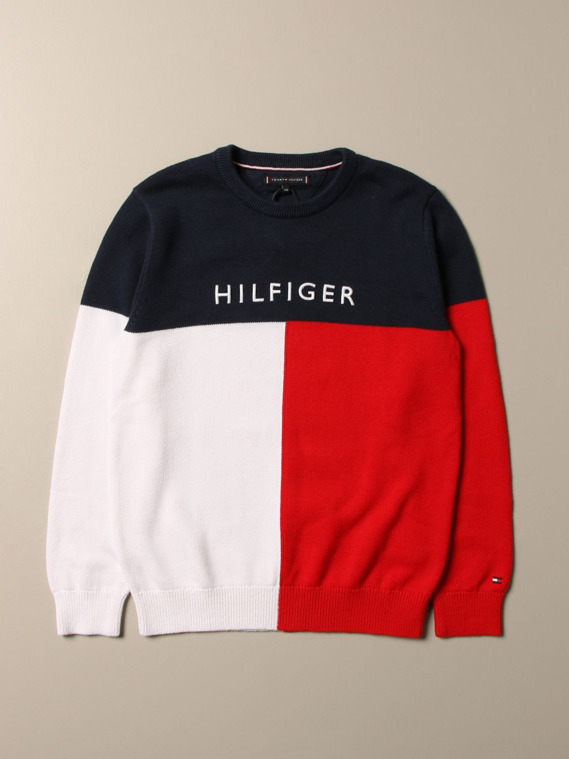 Sweater Tommy Hilfiger: Tommy Hilfiger tricolor sweater with logo white 1