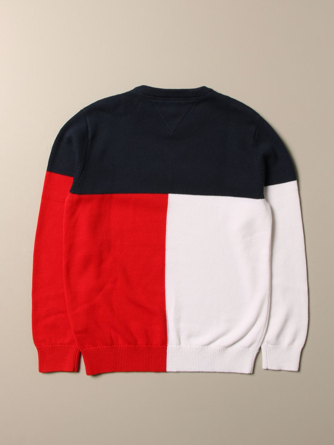 Sweater Tommy Hilfiger: Tommy Hilfiger tricolor sweater with logo white 2