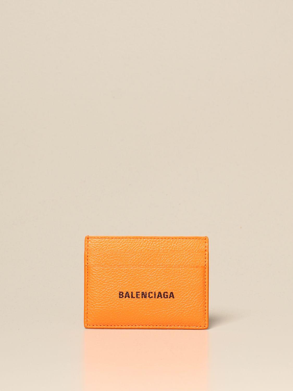 Wallet Balenciaga: Balenciaga credit card holder in leather orange 1