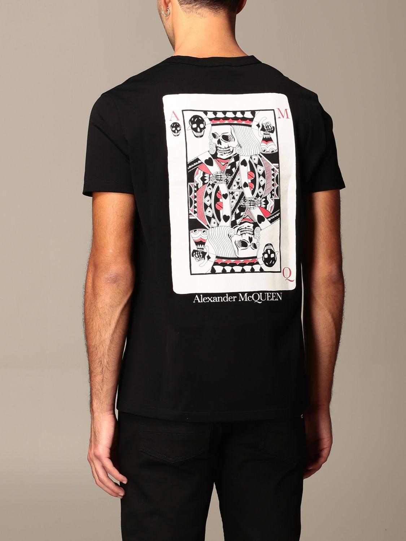 T-shirt Alexander Mcqueen: T-shirt Alexander McQueen con stampa poker teschio nero 3