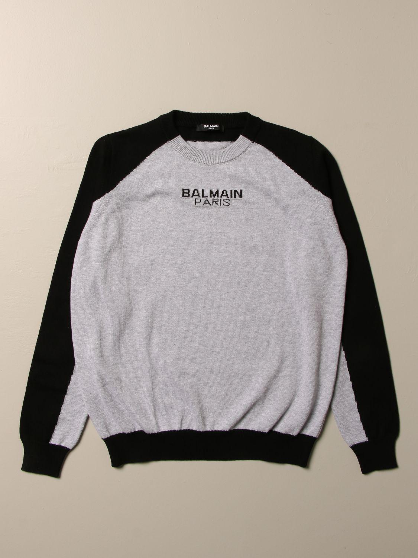 Maglia Balmain: Maglia Balmain in cotone bicolor con logo grigio 1