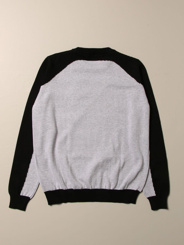 Maglia Balmain: Maglia Balmain in cotone bicolor con logo grigio 2