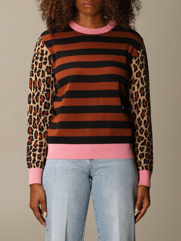 Maglia Msgm: Maglia Msgm in misto lana a righe con maniche animalier rosa 1