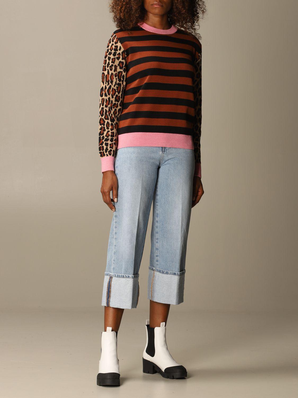 Maglia Msgm: Maglia Msgm in misto lana a righe con maniche animalier rosa 2
