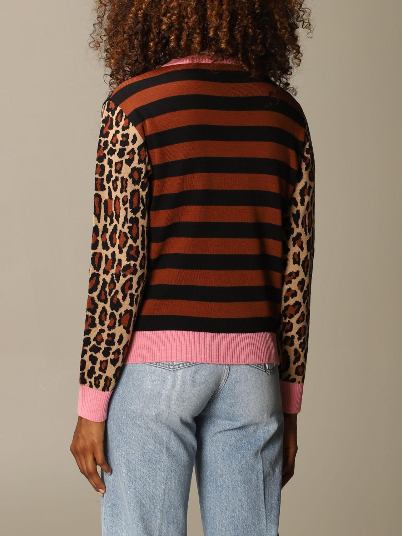 Maglia Msgm: Maglia Msgm in misto lana a righe con maniche animalier rosa 3