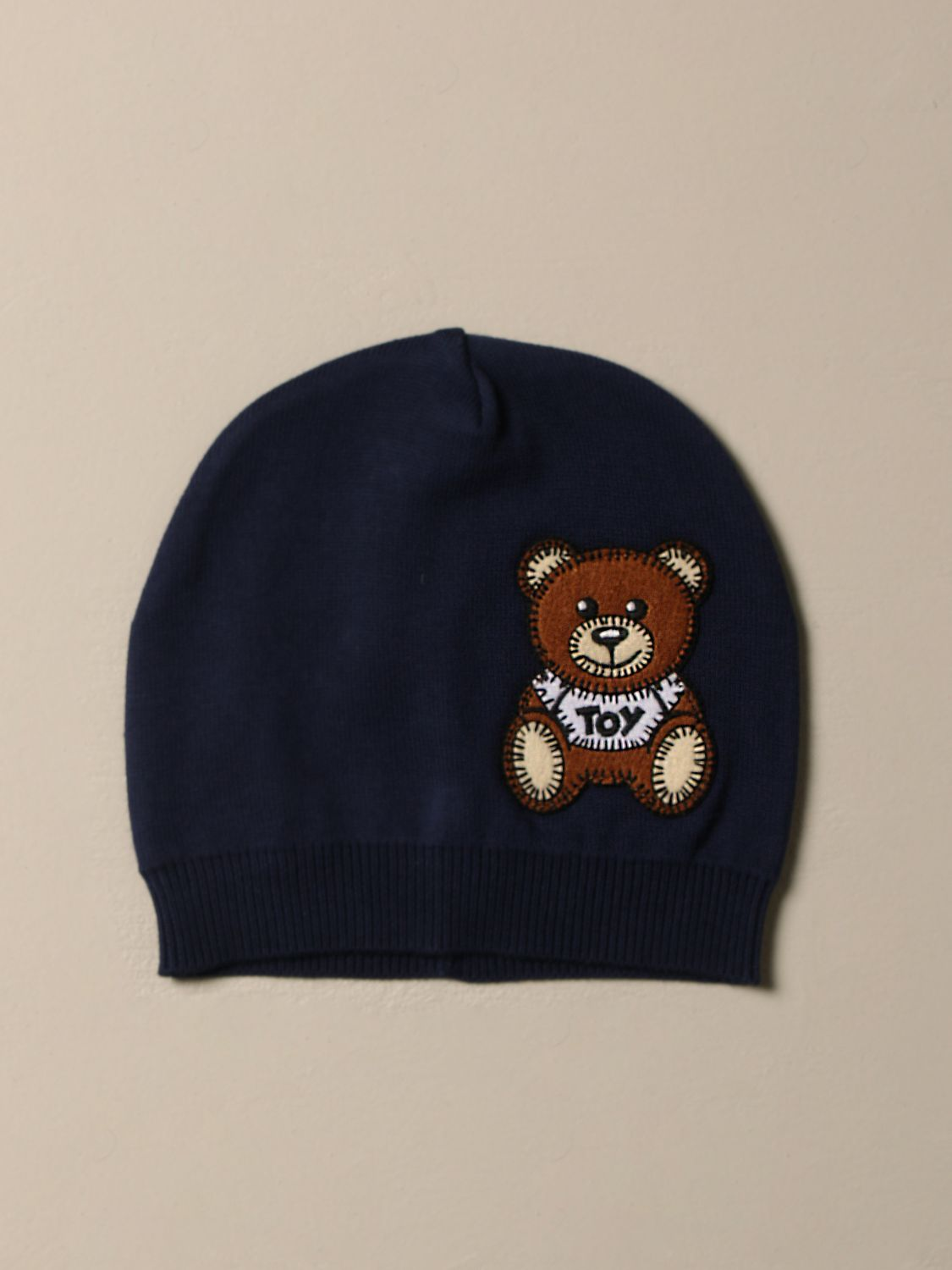 Hat Moschino Baby: Moschino Baby cotton hat with Teddy patch blue 1