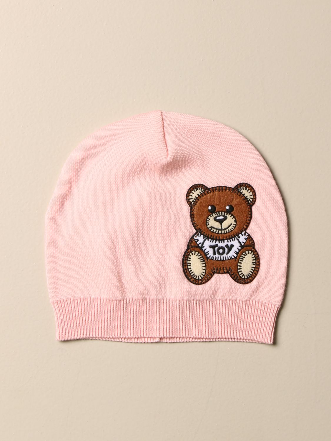 Hat Moschino Baby: Moschino Baby cotton hat with Teddy patch pink 1