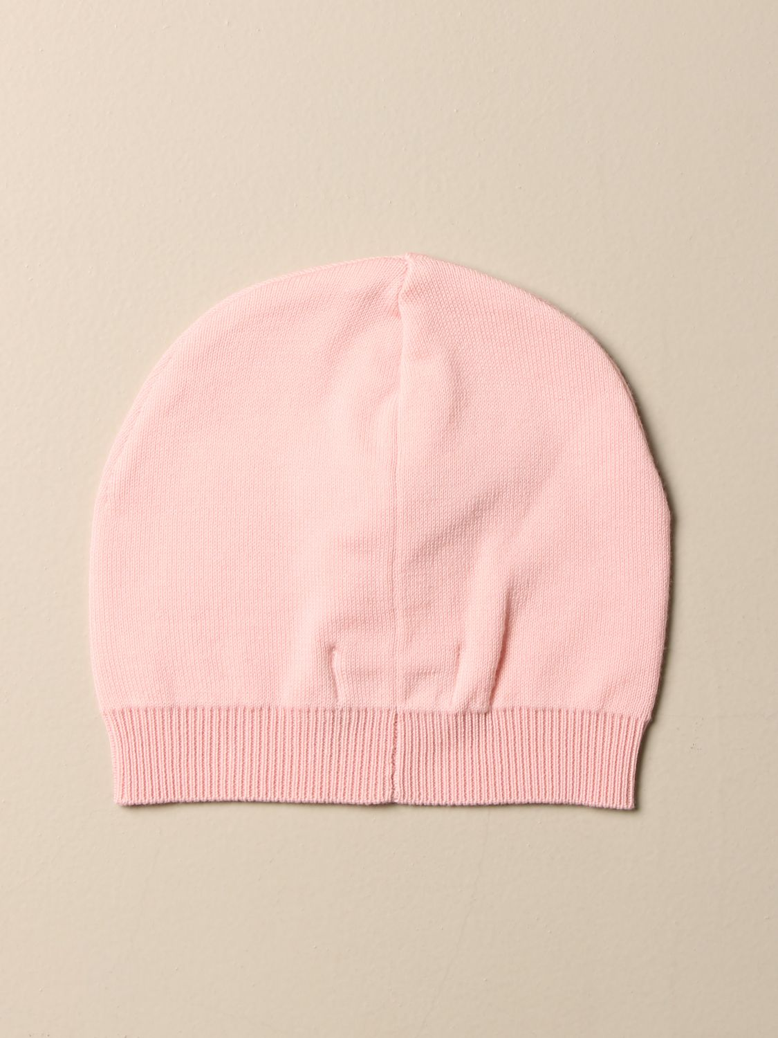 Hat Moschino Baby: Moschino Baby cotton hat with Teddy patch pink 2