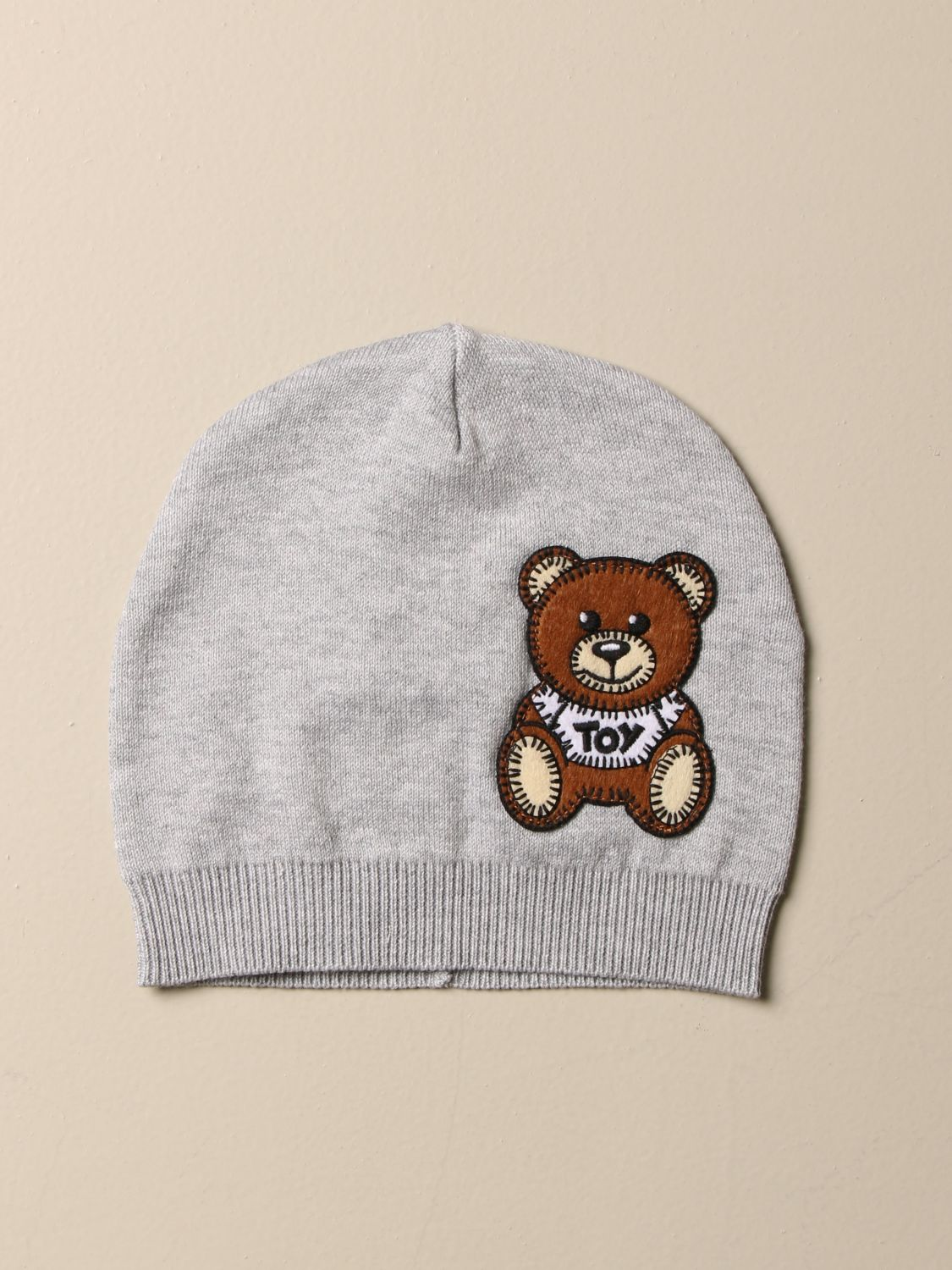 Hat Moschino Baby: Moschino Baby cotton hat with Teddy patch grey 1