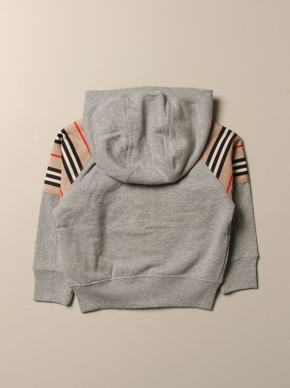 Maglia Burberry: Felpa Burberry in cotone con inserti a righe grigio 2