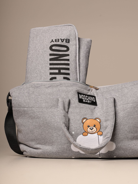 Borsa Moschino Baby: Diaper bag Teddy Nuvola Moschino Baby in cotone grigio 3
