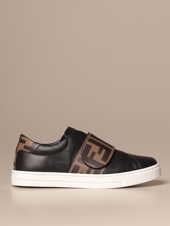 Scarpe Fendi: Sneakers Fendi slip on in pelle con banda FF nero 1