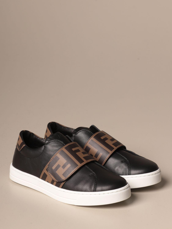 Scarpe Fendi: Sneakers Fendi slip on in pelle con banda FF nero 2