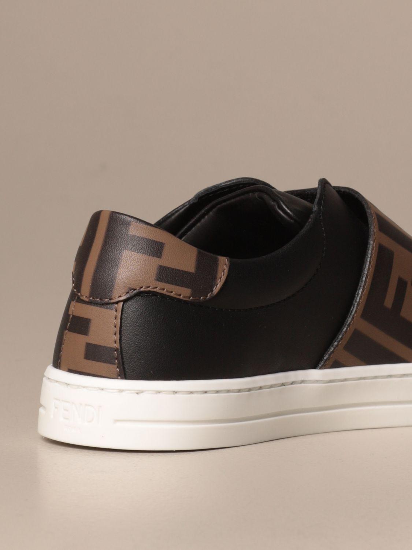 Scarpe Fendi: Sneakers Fendi slip on in pelle con banda FF nero 3