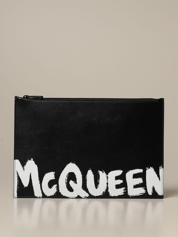 Portadocumenti Alexander Mcqueen: Pochette Alexander Mcqueen in pelle con logo nero 1