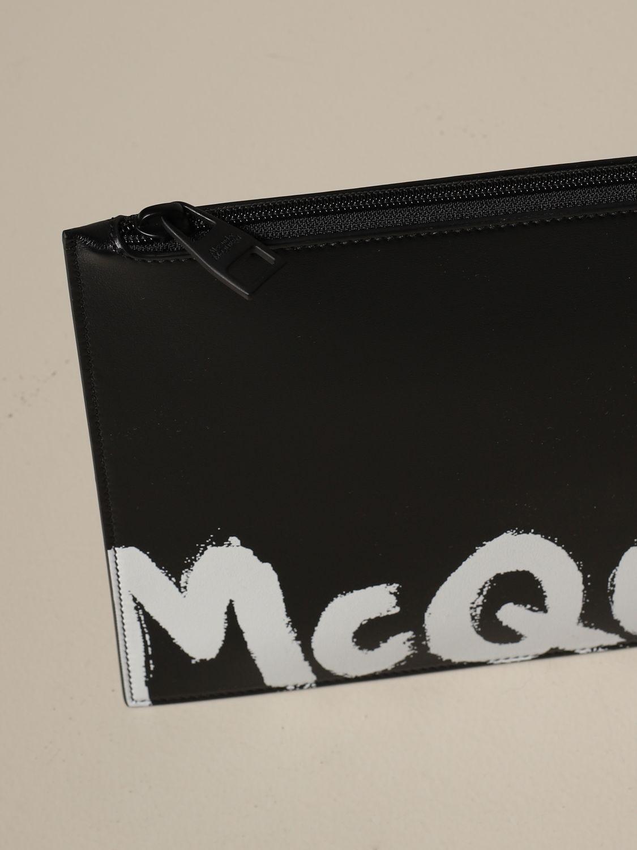 Portadocumenti Alexander Mcqueen: Pochette Alexander Mcqueen in pelle con logo nero 3