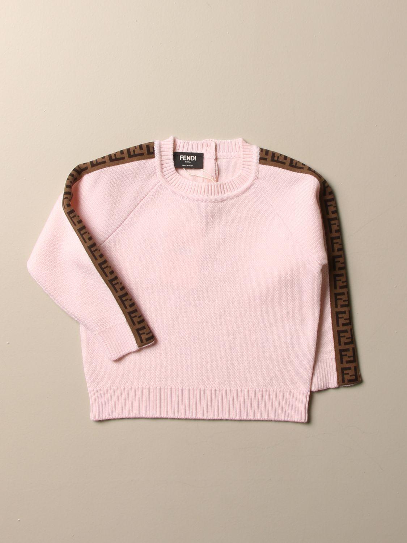Maglia Fendi: Pullover Fendi in lana con bande FF rosa 1