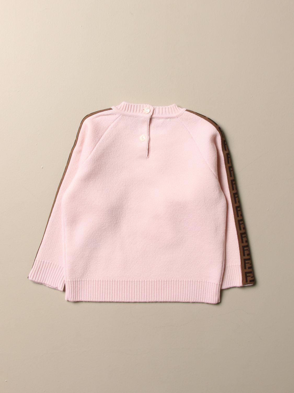Maglia Fendi: Pullover Fendi in lana con bande FF rosa 2