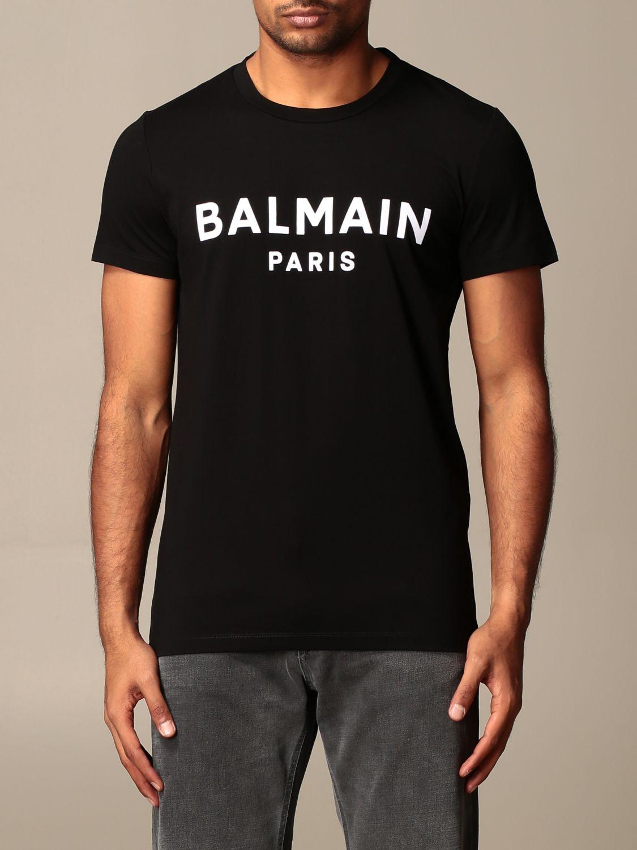 T-shirt Balmain: T-shirt Balmain con logo a contrasto nero 1