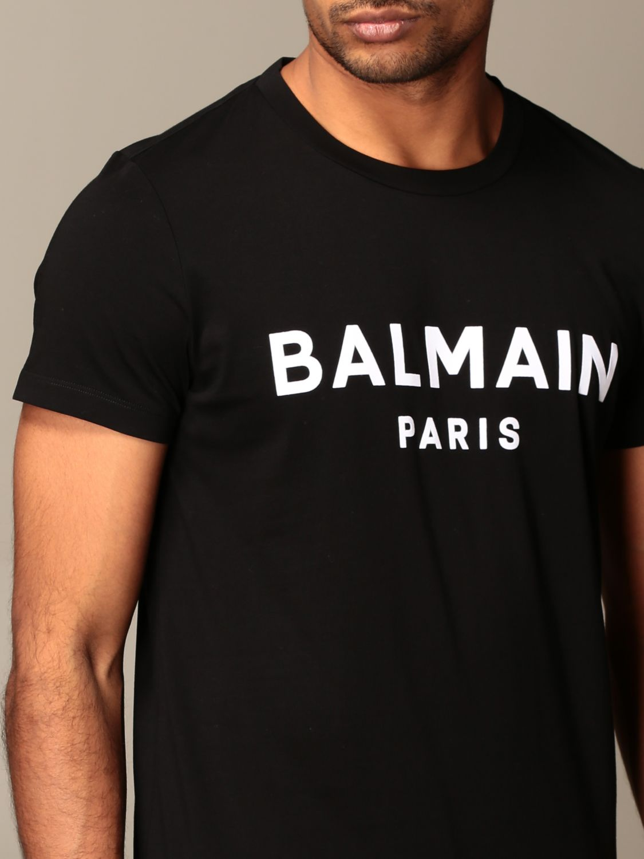 T-shirt Balmain: T-shirt Balmain con logo a contrasto nero 4