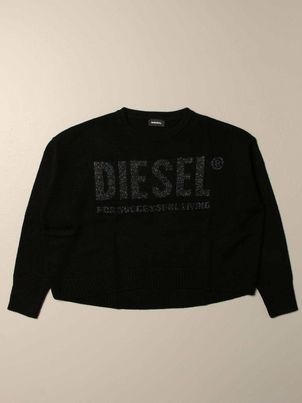 Maglia Diesel: Maglia Diesel a girocollo in cotone con logo nero 1