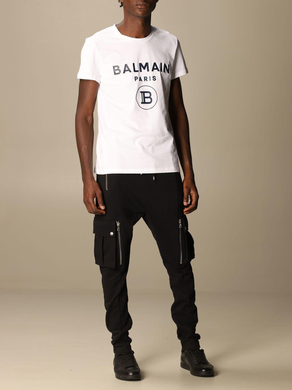 T-shirt Balmain: T-shirt Balmain in cotone con logo bianco 2