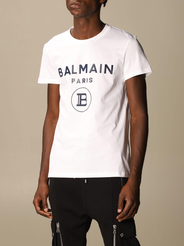 T-shirt Balmain: T-shirt Balmain in cotone con logo bianco 4