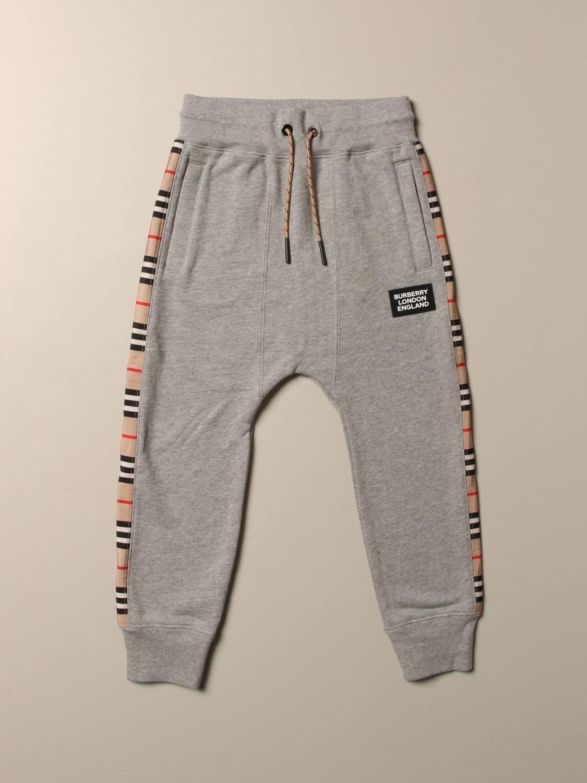 Pantalone Burberry: Pantalone jogging Burberry in cotone con bande check grigio 1