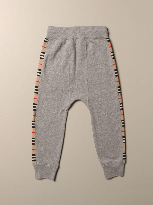 Pantalone Burberry: Pantalone jogging Burberry in cotone con bande check grigio 2