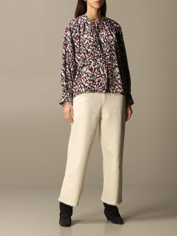 Top Isabel Marant: Isabel Marant patterned blouse black 2