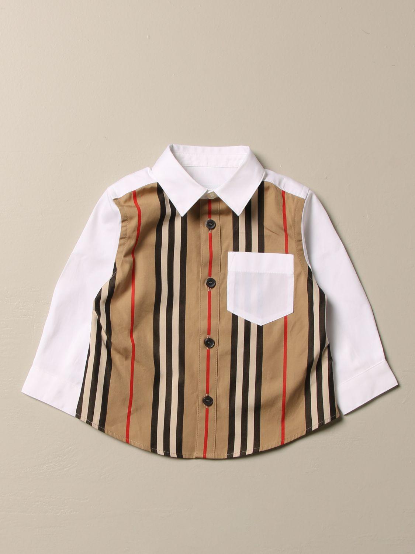Camicia Burberry: Camicia Burberry in cotone stretch con motivo a righe beige 1