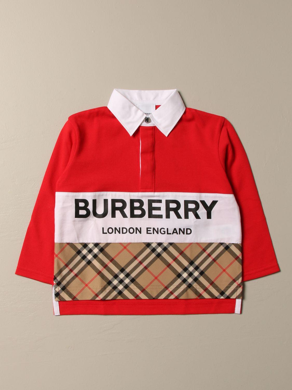 Polo Shirt Burberry: Burberry cotton polo shirt with check band red 1
