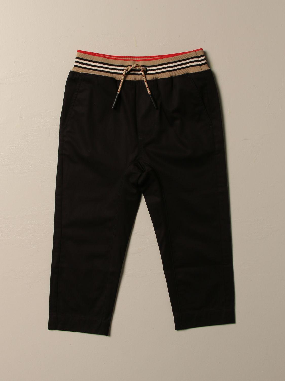 Pantalone Burberry: Pantalone jogging Burberry in cotone con fascia a righe nero 1