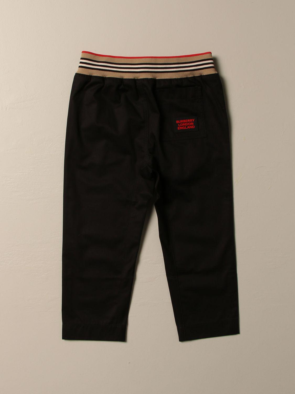 Pantalone Burberry: Pantalone jogging Burberry in cotone con fascia a righe nero 2