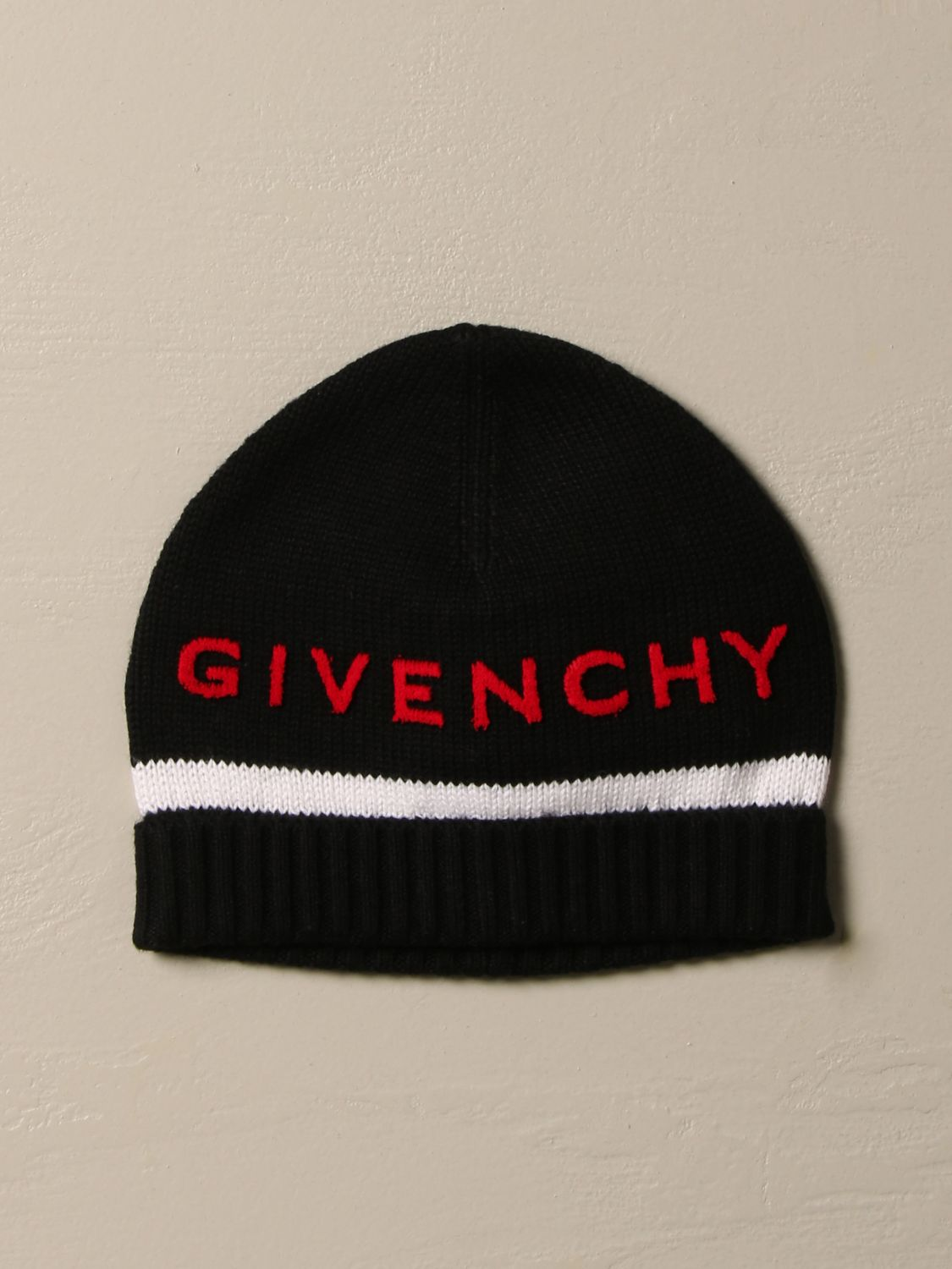 Hat Givenchy: Givenchy hat in cotton and cashmere with logo black 1