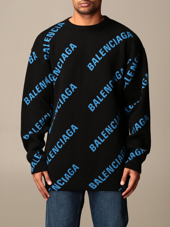 Felpa Balenciaga: Pullover a girocollo Balenciaga con logo all over in jacquard nero 1