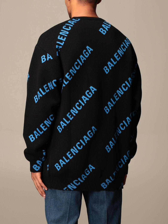 Felpa Balenciaga: Pullover a girocollo Balenciaga con logo all over in jacquard nero 2