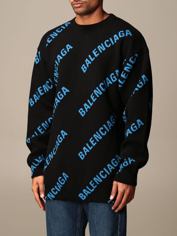 Felpa Balenciaga: Pullover a girocollo Balenciaga con logo all over in jacquard nero 3