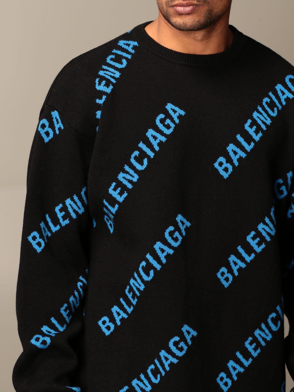 Felpa Balenciaga: Pullover a girocollo Balenciaga con logo all over in jacquard nero 4