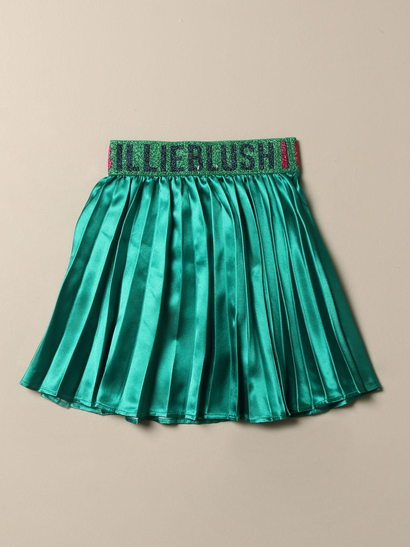 Gonna Billieblush: Gonna Billieblush in raso con maxi logo verde 2