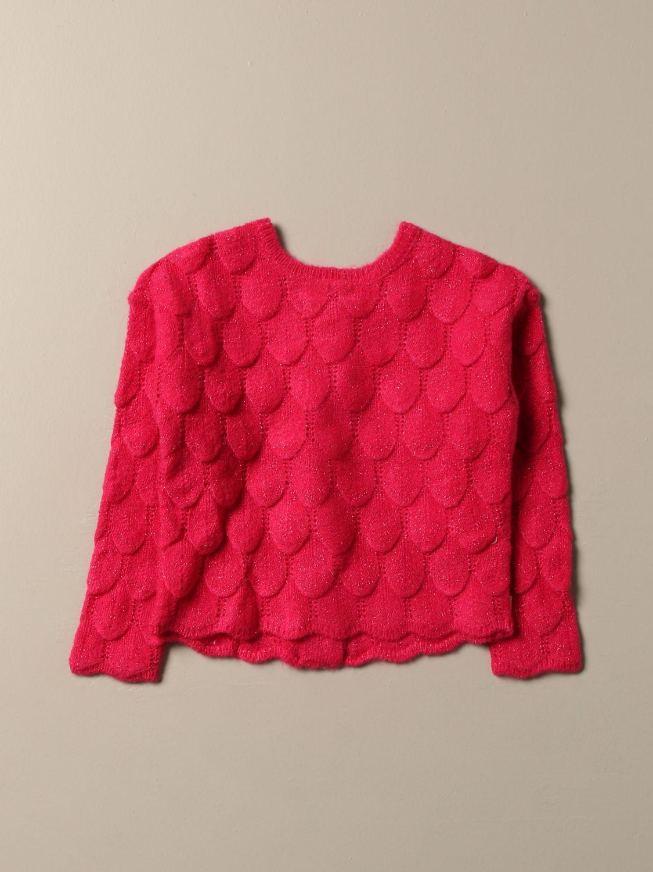 Maglia Billieblush: Cardigan Billieblush in tessuto con lavorazione a petali glitter fuxia 1