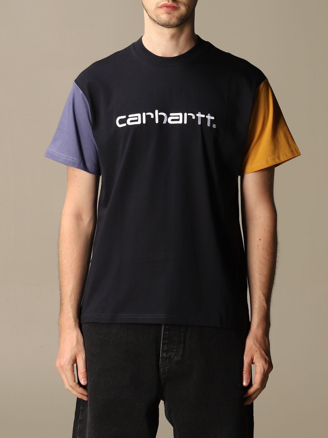T-shirt Carhartt: Carhartt cotton T-shirt with two-tone sleeves navy 1