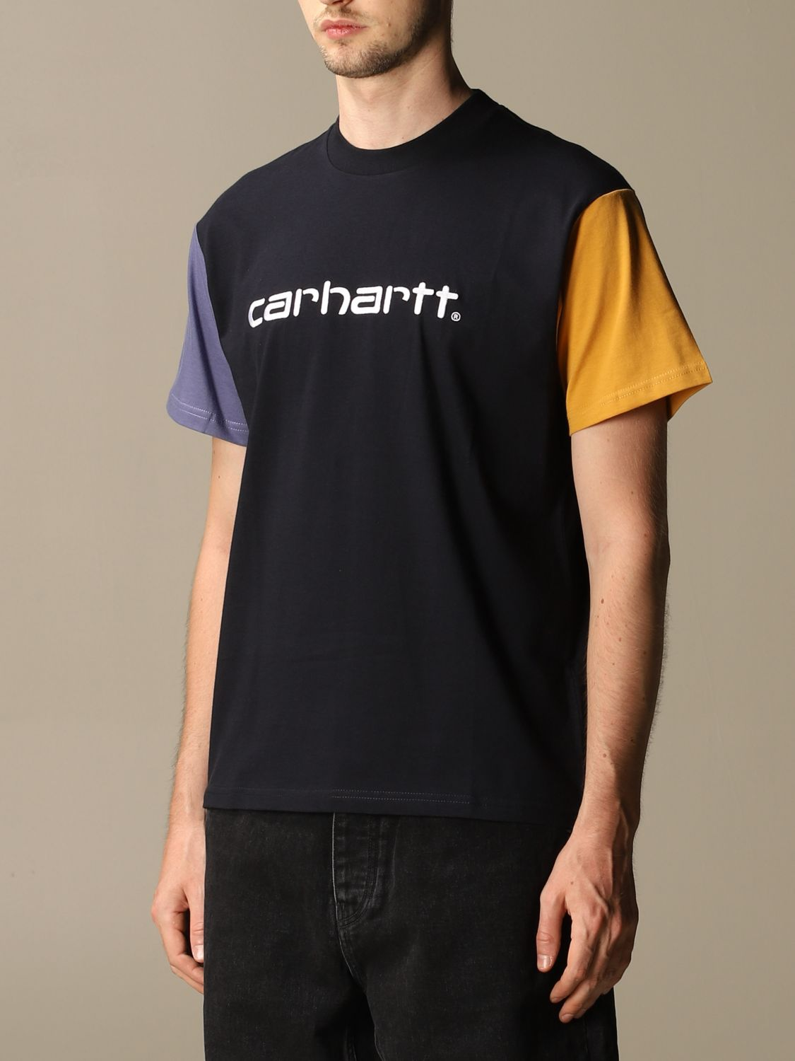 T-shirt Carhartt: Carhartt cotton T-shirt with two-tone sleeves navy 3