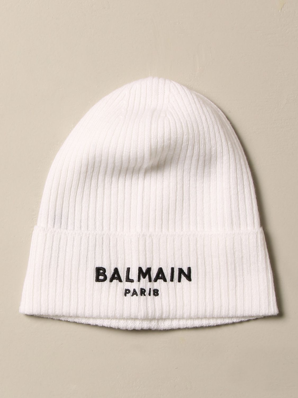 Cappello bambino Balmain: Cappello a berretto Balmain in cashmere con logo avorio 1