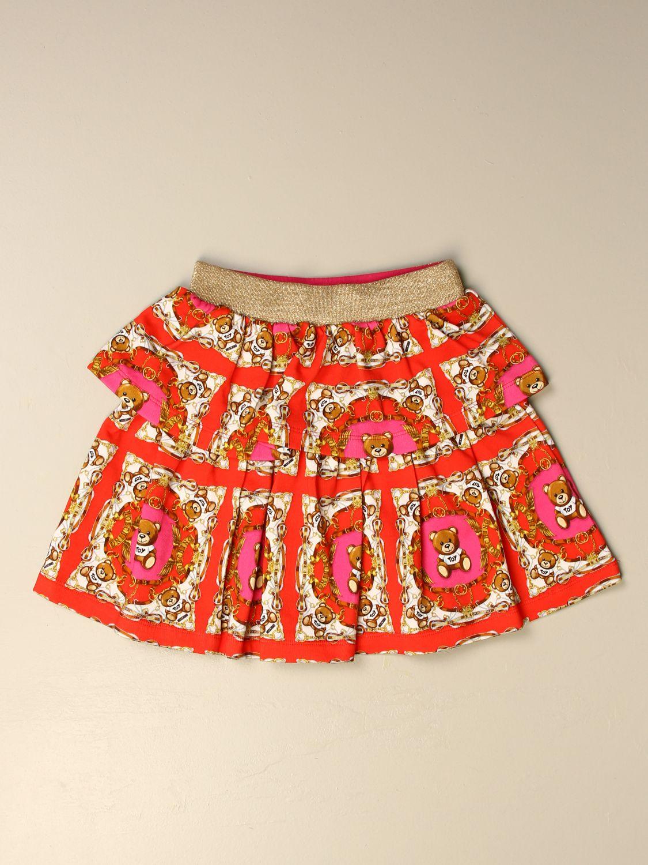 Skirt Moschino Kid: Moschino Kid flounced skirt with all over teddy logo red 1
